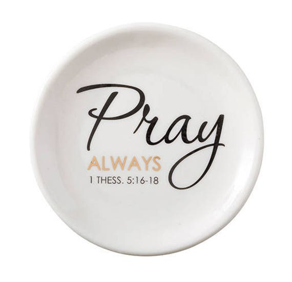 Catholic Gifts - Rosary Holder - Jewelry Holder for Christians - Pray Always - Ceramic Dish for Rosaries, Catholic Jewelry, Rosary Dish
