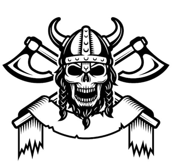 Viking Logo 1 Skull Helmet Horns Axes Warrior Svg Eps Png