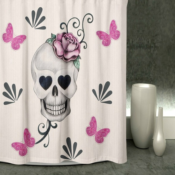 Day Of The Dead Bathroom Set: Sugar Skull Shower Curtain Skulls Fabric Shower Curtains Day