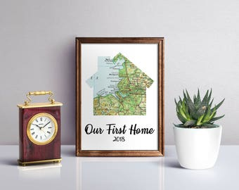 Our first home map print, personalised map art print, custom wedding map, unique couple gift, paper anniversary, anniversary gift