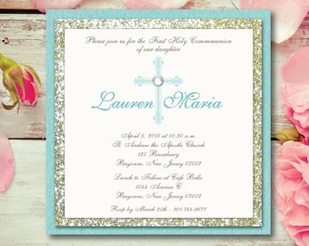 Communion Invitation Girl Communion Glitter Invitation Gold Glitter Teal