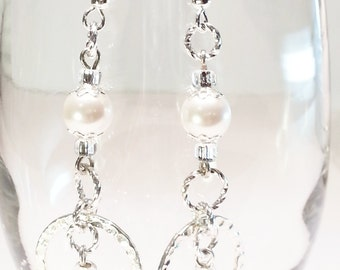 Wedding Dangle Earrings White Swarovski Crystal Pearls and Silver Rings