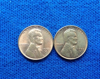 1953 D Lincoln Wheat Pennies US Coins Old Coins American Coins Lot of 9