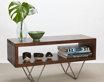 Xavi Reclaimed Wood TV Stand   TV Cabinet   Hairpin Legs   Walnut Finish   Living Room   Side Table