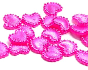 SET OF 20 HEART HALF PEARL HAS PASTE PINK SCRAPBOOKING SCRAP SHABBY WEDDING