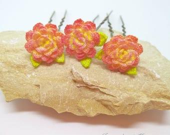 Crochet flower hairpins, Flower bobby pins, Delicate hair flower, Blossom hairpins, Flower girl hairpin, Prom hair accessory