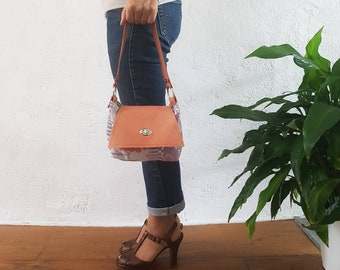 small shoulder bag in canvas with leather and ethnic motifs