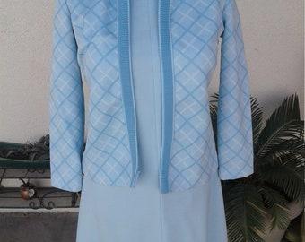 1960's bright baby blue women's dress suit