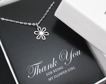 Flower Girl Necklace, Flower Girl Gift, Flower Girl Jewelry, Sterling Silver Flower Necklace, Bridal Party Gifts, Wedding Gifts