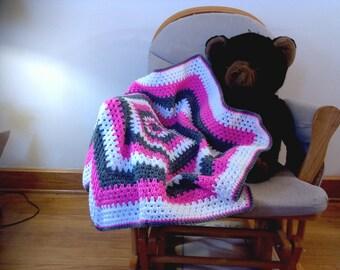 Hexagon Baby Blanket- Pink, Gray, White