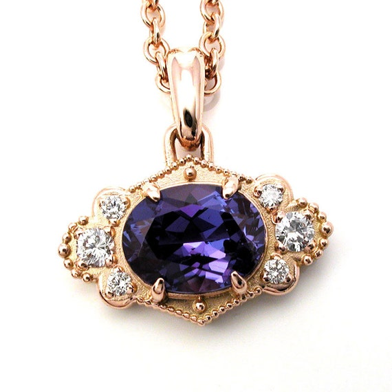 Chatham Alexandrite Pendant with Diamonds - Rose Gold - Color Change Alexandrite - Ready to Ship