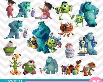 MONSTERS Inc University Disney Pixar Film Movie  BUNDLE SET Of Clipart,  Instant Download, Illustration, Sully Boo