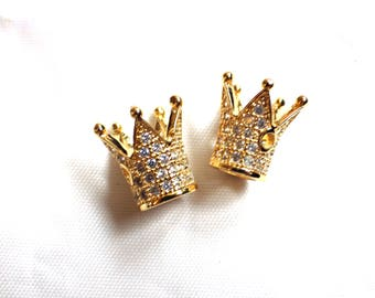 2 x Brass Micro Pave Cubic Zirconia Crown Beads 12.2 x 10.3mm GOLD