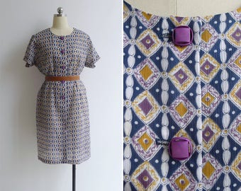 Vintage 70's Diamond Op Art Print Shift Dress XL XXL (Plus Size)