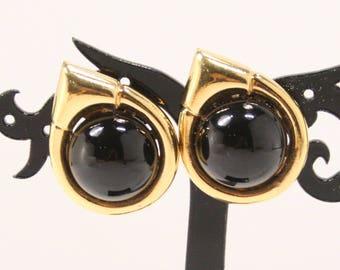 CINER Vintage Earrings Designer Signed Black Glass Cabochon Clip Earrings Goldtone Teardrop Couture