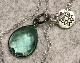 Green Amethyst lotus necklace