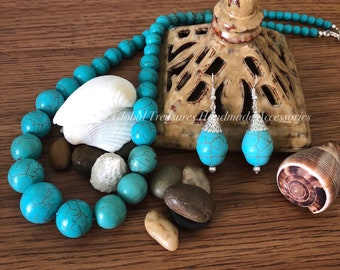 Turquoise Gemstone Beaded Necklace and Earring Set
