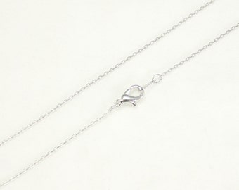 """16"""" long 1mm Necklace Chain Round link trace chain with Lobster clasp Necklace Making Chain Silver plated over brass - Annielov Chain #1"""