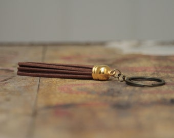 Brown long tassel keychain for him keyring, fathers day keyring, gifts for him, mens gifts, boyfriend gift, new home gift,