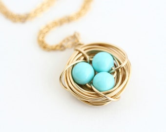 Turquoise Nest Necklace - Gold Nest Pendant - Woodland Necklace - Birds Nest Necklace - Gift For Mom - Grandmother - New Mom - Push Present