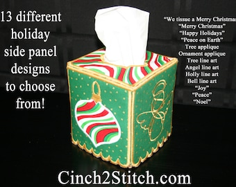 "Holiday Tissue Box Cover - In The Hoop - Machine Embroidery Design Download (5"" x 7"" Hoop)"