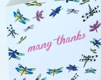 SALE -Thank You greeting card - Dragonfly - 50% off