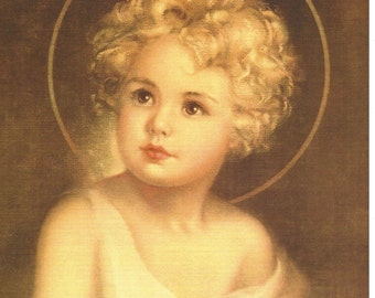 "Child Jesus picture Religious Catholic Art Print by artist Charlotte Becker - 8"" x 10"" - ready to frame!"
