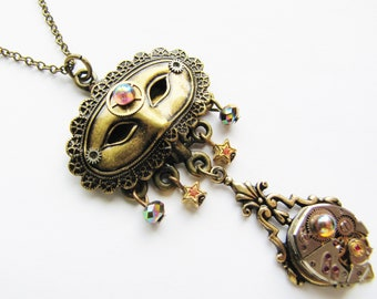 Steampunk Masked Necklace & Vintage Elgin Watch Movement, Steampunk Mask Necklace, Steampunk Watch Necklace, Steampunk Necklace PN27