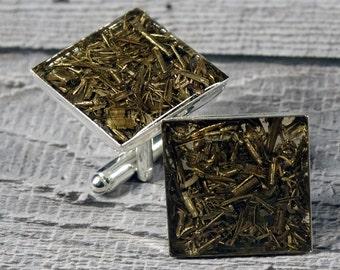 Brass and Silver Cufflinks - Swarf - Sparkly - Valentines Cufflinks