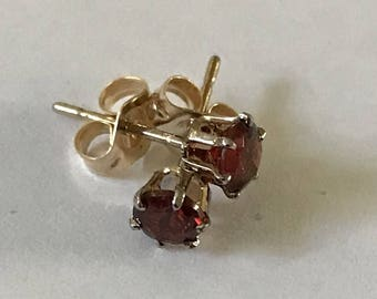 Hand Crafted 14k Yellow Gold and Garnet Stud Earrings