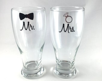He Put a Ring On It Engaged Beer Glasses Put a Ring on It