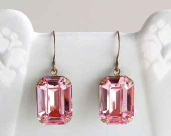 Vintage Swarovski Light Rose Pink Crystal Octagon Rhinestone Earrings