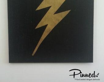 Lightning bolt design pinboard, hand painted cork board, memo board, bulletin board, superhero