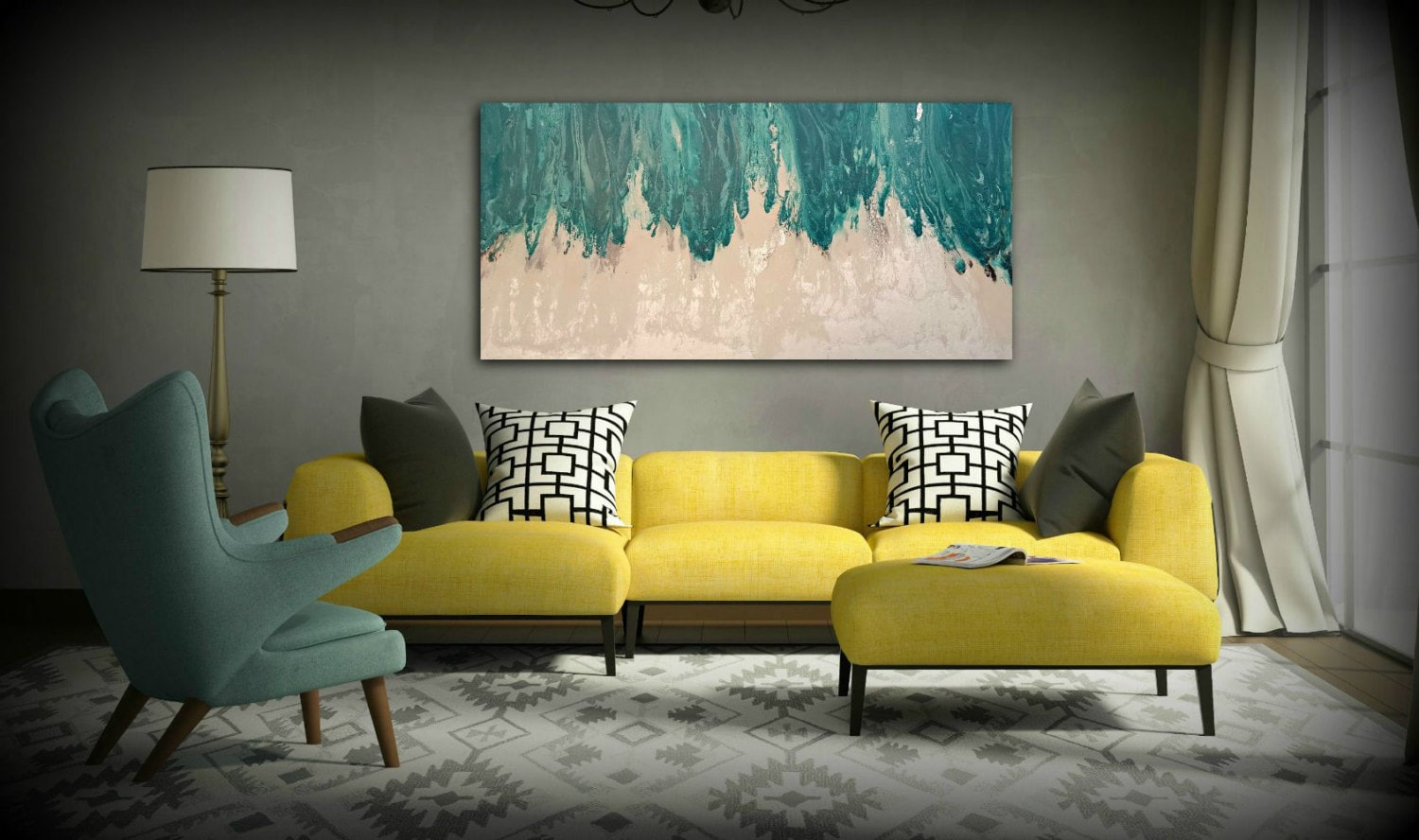 Unique Art Painting Acrylic Paintings XL / Extra LARGE Abstract Canvas  JY82