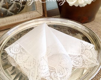 Wedding Handkerchief,  Wedding Bells, Vintage Linen Hanky, Keepsake, Heirloom Hankie, Bride's Hanky, Original Tag