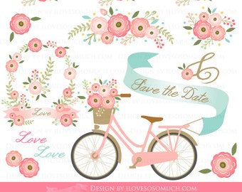Floral Wedding / Floral Party / Pink Flowers Clip Art - Instant Download - CA090