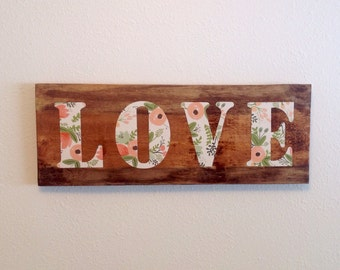 Reclaimed wood LOVE plaque in RIFLE PAPER