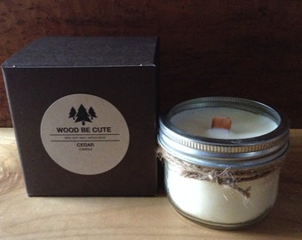 Spiced Cedar Scented 100% Soy Wax Mason jar Candle With Wood Crackle Wick
