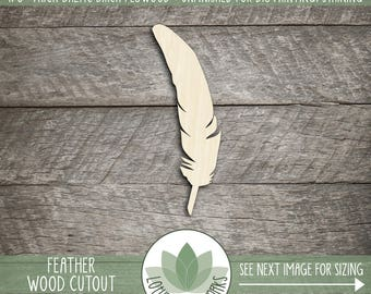 Feather Wood Cut Shape, Unfinished Wood Feather Laser Cut Shape, DIY Craft Supply, Many Size Options