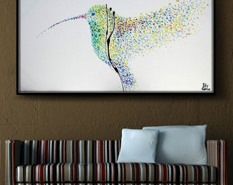 "Canvas Painting Humming Bird 55"" Original oil painting on canvas, Clean Modern looks,Beautiful refreshing colors,express ship, koby feldmos"