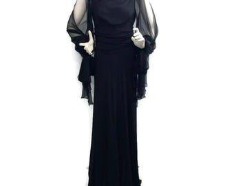 Valentino Black Vintage Chiffon Gown Dress