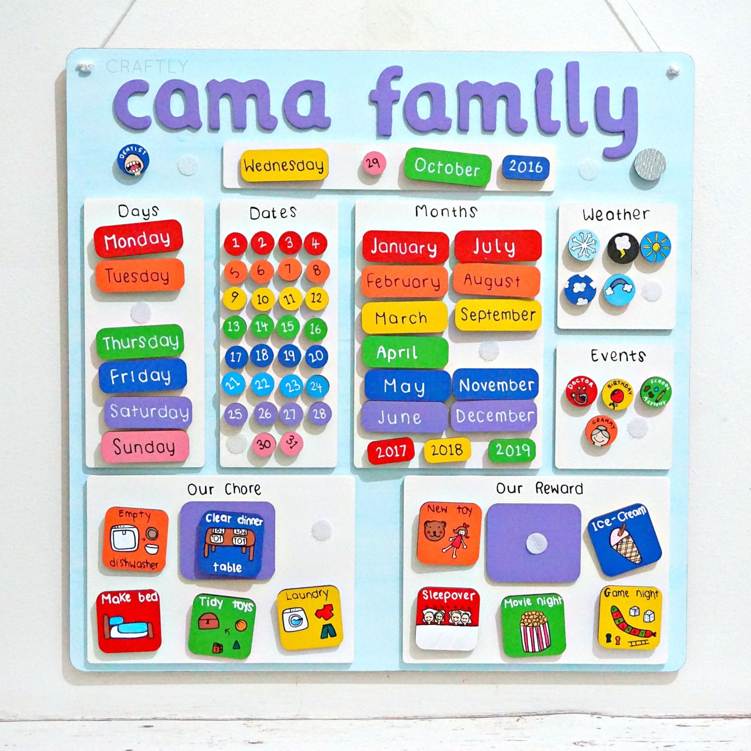 Kids Weather Calendar : Personalised childrens calendar chores weather chart