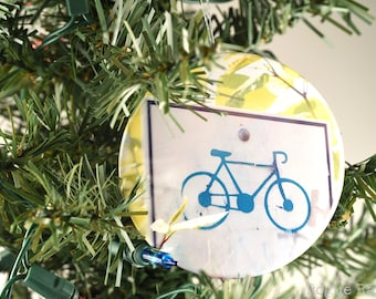 """Big Bicycle Ornament - Bike Ornament - 3"""" Glitter Ornament - Blue Bike Sign Holiday Ornament - Sparkly Cycle Ornament - Origial Image"""
