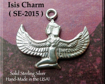 Sterling Silver Isis Charm or Necklace, Genuine .925 Silver Kneeling Isis Necklace, Egyptian Jewelry