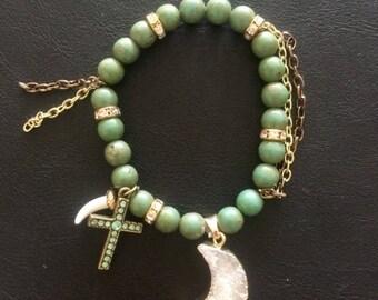 Olive and Gold Druzy Moon Charm Bracelet