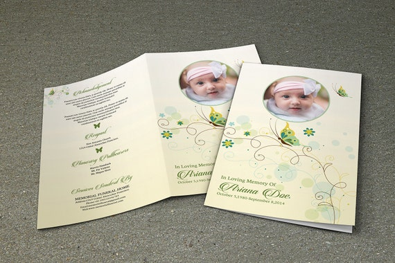 Printable Funeral Program Template Child Funeral
