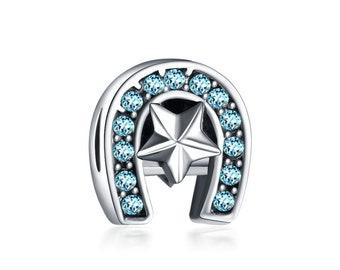 925 Silver Horseshoe Blue Rhinestone Charm Bead, European Bracelet/Necklace Bead, Blue Rhinestone Jewelry, Fits Name Brand Bracelets