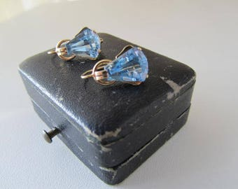 Beautiful antique ART DECO 14 K yellow gold aquamarine blue topas earrings