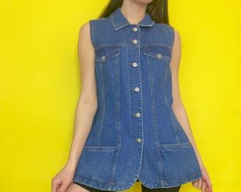 Vintage 80s 90s Blue Jean Collared Button Down Sleeveless Denim Dress
