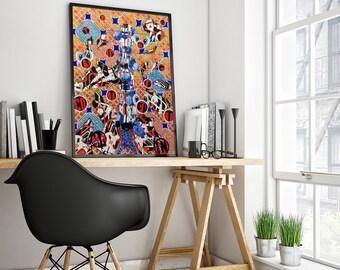 abstract watercolor, cloud art print, abstract artwork, technology art, fine art print, modern art, connections art giclee print wall art